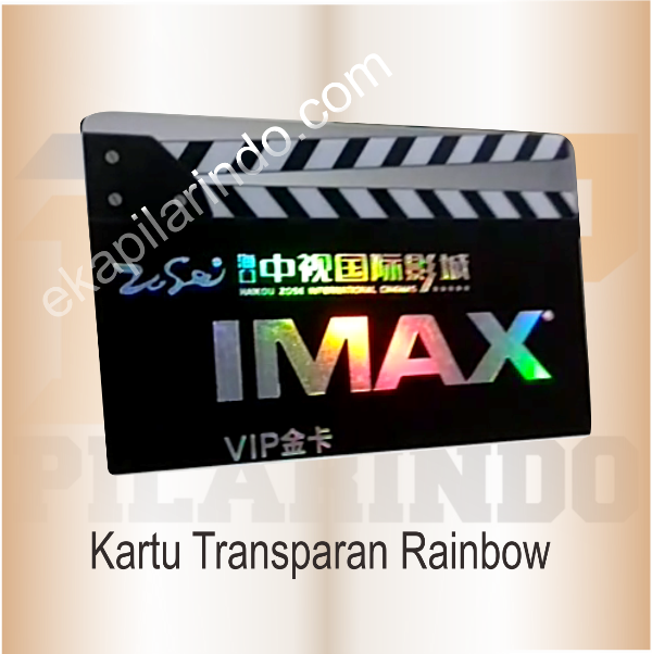 kartu transparan rainbow